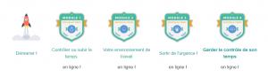 Dans les MOOC de Unow, les apprenants remportent des badges à la fin de chaque module validé.
